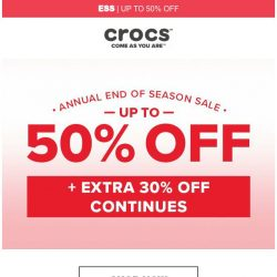 [Crocs Singapore] End of Season Sale Continues! Up to 50% Off!