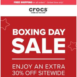 [Crocs Singapore] Holiday is Not Over! Enjoy Crocs Holideal of Extra 30% Off!