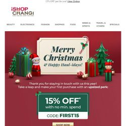 [iShopChangi] Our 🎁 to you! Make your first purchase count! 🎄