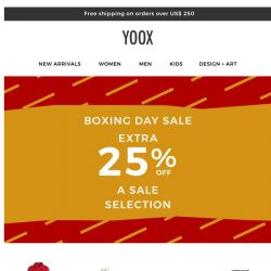 [Yoox] 📦 Boxing Day Sale: EXTRA 25% OFF the sale with up to 60% OFF