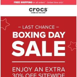[Crocs Singapore] 【LAST CHANCE】 Enjoy Crocs Holideal of Extra 30% Off!