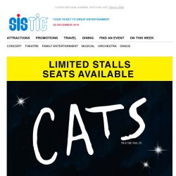 [SISTIC] CATS MUST CLOSE 5 JAN. Don't miss out!