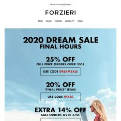 [Forzieri] Tick tock... VIP Access to DREAM SALE is closing