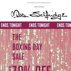 [Miss Selfridge] Up to 70% off everything ENDS TONIGHT