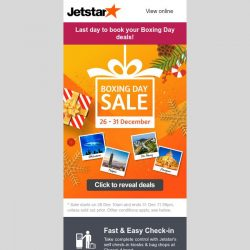 [Jetstar] ⏰ Final hours! Don't miss out Boxing Day Sale fares to Okinawa, Taipei and more.