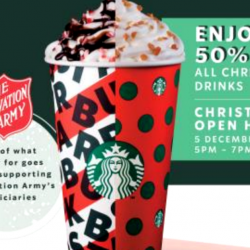 Starbucks: Christmas Open House with 50% OFF Any Christmas Drink at All Stores!