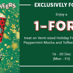 Starbucks: Enjoy a 1-for-1 treat on Venti-sized Holiday French Vanilla Latte, Peppermint Mocha and Toffee Nut Crunch Latte All Day!