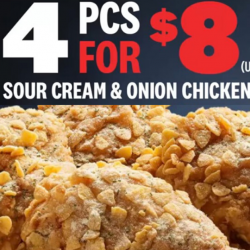 KFC: Enjoy 4 Pcs of Sour Cream & Onion Chicken for just $8!