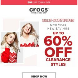 [Crocs Singapore] 【Continues】New Year, New Savings! Up to 60% Off!