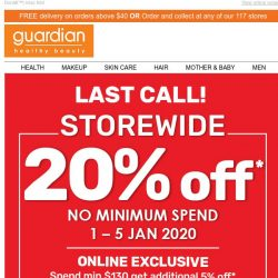 [Guardian] 📢 SUPER SUNDAY SALE: Last day for 20% off STOREWIDE & up to 50% off Baby Boss Deals!