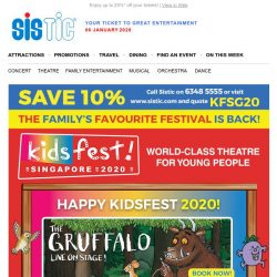 [SISTIC] Opening Soon! Book Now for KidsFest! 2020 - Mr Men, The Gruffalo and  more!
