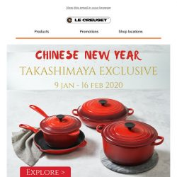 [Le Creuset] NEW! This January, get savings on Cherry Red and more.