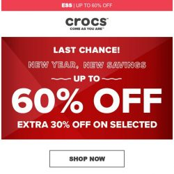 [Crocs Singapore] 【Ends Tomorrow】 Up to 60% Off! + Extra 30% off!