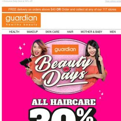 [Guardian] 💋 Beauty Days: Get 30% off ALL Haircare NOW!