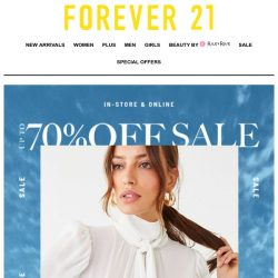[FOREVER 21] THURSYAY: Up to 70% OFF!