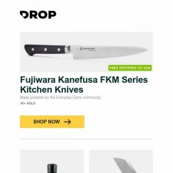 [Massdrop] Fujiwara Kanefusa FKM Series Kitchen Knives, Klarus G20 3,000-Lumen Mini Search Flashlight, QSP Penguin D2 Liner Lock Knife and more...