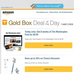 [Amazon] Today only: Get 8 weeks of The Washington Post...