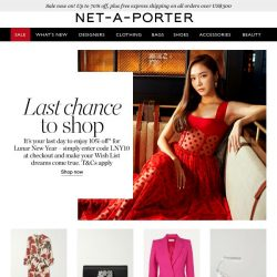 [NET-A-PORTER] Ends today: your 10% off* for Lunar New Year