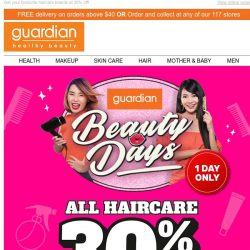 [Guardian] ⚡ [Today Only] Guardian Beauty Days online extension is here!