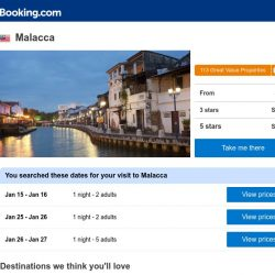 [Booking.com] Deals in Malacca from S$ 6