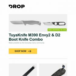 [Massdrop] TuyaKnife M390 Envy2 & D2 Boot Knife Combo, S.T. Dupont Wild West Fountain Pen, Boker & CountyComm Carbon Fiber Anso Albatross and more...