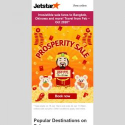 [Jetstar] 🎉 Prosperity Sale starts now! Travel your way to a prosperous new year.