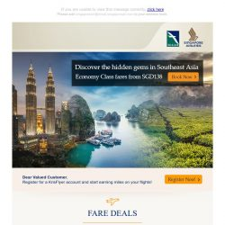 [Singapore Airlines] Discover hidden gems in Southeast Asia from SGD138