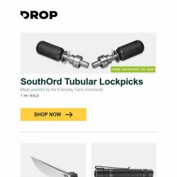 "[Massdrop] SouthOrd Tubular Lockpicks, Bestech BG05 ""Scimitar"" G-10 Series, Klarus E1 Deep-Carry Pocket Flashlight and more..."