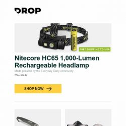 [Massdrop] Nitecore HC65 1,000-Lumen Rechargeable Headlamp, Nextool Multifunctional Taobar (2-Pack), Inspirs Design Vortex TTi-300 Spinning Top and more...