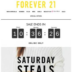 [FOREVER 21] OOPS! Saturday Steals is ON NOW!