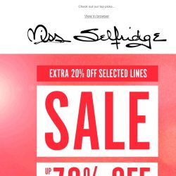 [Miss Selfridge] EXTRA 20% OFF SELECTED SALE ENDS TONIGHT ‼️