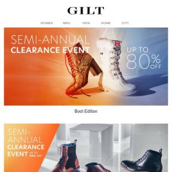 [Gilt] BOOT CLEARANCE 🚨 UP TO 80% OFF. Shop/wear right now.