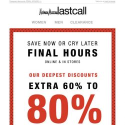 [Last Call] EXPIRATION NOTICE: extra 60%–80% off clearance
