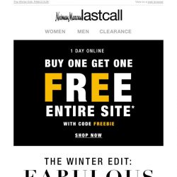 [Last Call] BOGO FREE > cold-weather finds for her & him