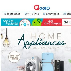 [Qoo10]  Sunday Best Home Appliances Deals! Dyson Hairdryer at $500 (U.P$599) / Fitbit Charge 3 at $151.2 (U.P$238) and more!