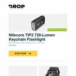 [Massdrop] Nitecore TIP2 720-Lumen Keychain Flashlight, Boker Urban Trapper Tanto Knife, Oris Artix GT Day Date Automatic Watch and more...