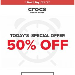 [Crocs Singapore] 【1 Deal 1 Day】 Slides, Flips & more at 50% OFF! Today ONLY!