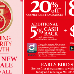 Metro: Chinese New Year Sale with Up to 80% OFF Storewide & 20% OFF Cosmetics & Fragrances!