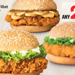 KFC: Choose 2 Burgers from Zinger, Shrooms Fillet Burger or Colonel Burger for only $4.95!