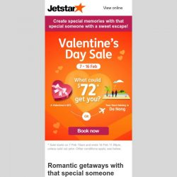 [Jetstar] 💘 Irresistible Valentine's Day Sale fares to 17 destinations, don't miss this!