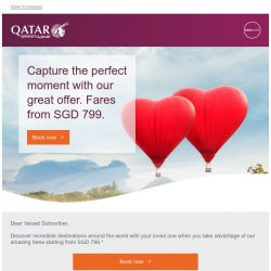 [Qatar] Capture the perfect moment with our great offer. Fares from SGD 799.*
