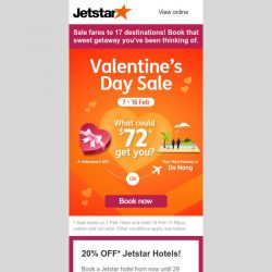 [Jetstar] 💘 Still thinking of that sweet escape? Last chance to book these Valentine's special flight deals!