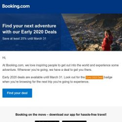 [Booking.com] Experience the world with at least 20% off