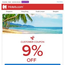 [Hotels.com] ✂ 9% off code – yours to enjoy