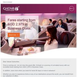 [Qatar] ⌛ 3 days left. Premium offers. Memorable journeys. Fares starting from SGD 2,979.