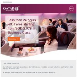 [Qatar] ⏰ Less than 24 hours left. Premium offers. Memorable journeys. Fares starting from SGD 2,979.