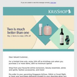 [Singapore Airlines] Limited Time Only – Enjoy 20% off on KrisShop.com