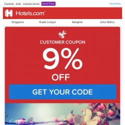 [Hotels.com] Get an EXTRA 9% OFF your next booking