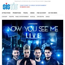 [SISTIC] 'NOW YOU SEE ME LIVE' premieres in Singapore this May