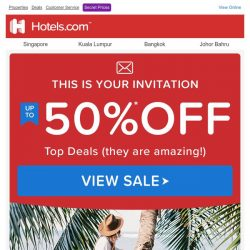 [Hotels.com] 【THIS IS BIG!】 Just to let you know, you can get up to 50% off